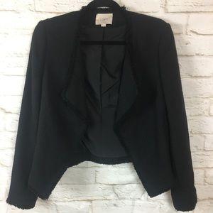 LOFT Black Tweed Open Blazer Fringe Trim size 4
